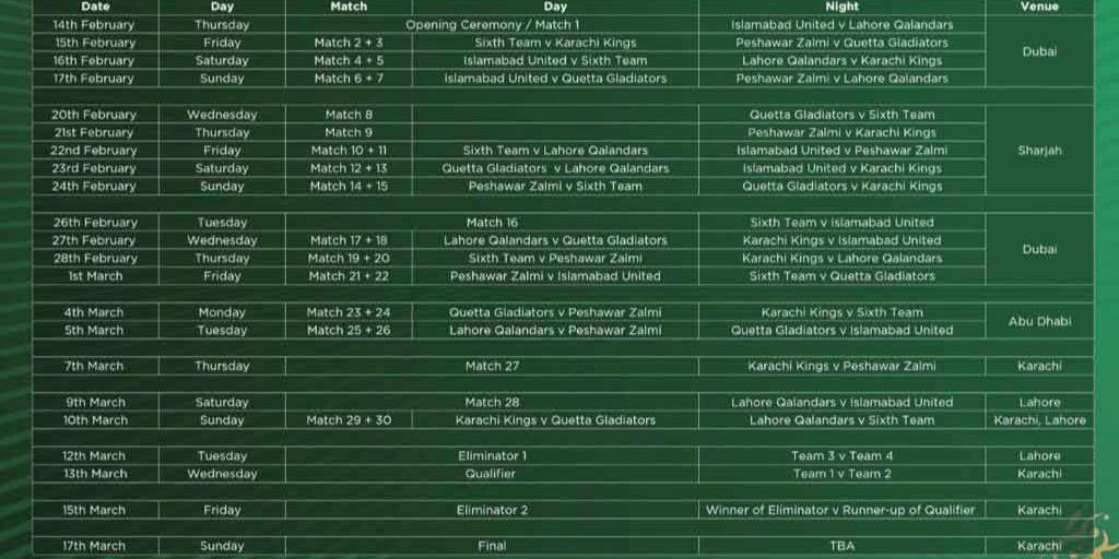 Psl fixtures 2020 19